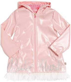 Billieblush Coated Raincoat With Tulle Hem