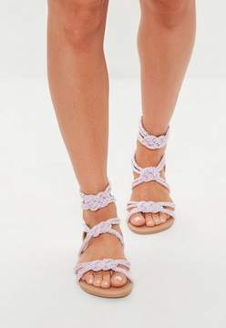 Missguided Pink Multi Knot Rope Flat Sandals