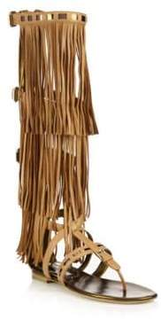 Brian Atwood Adriana Fringed Leather Flat Sandals