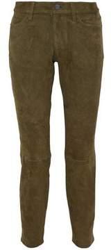 Current/Elliott The Easy Stiletto Suede Mid-Rise Slim-Leg Jeans