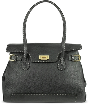 Fontanelli Black Handstitched Pebble Leather Large Satchel Bag