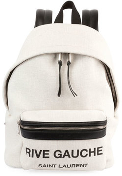 Saint Laurent Canvas Small City Logo Backpack - NEUTRAL - STYLE