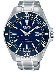 Pulsar Men's Solar Stainless Blue Dial Sport Watch