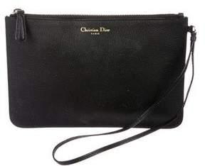 Christian Dior Leather Wristlet Clutch