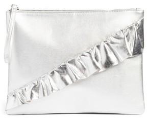 T-Shirt & Jeans Ruffle Charging Clutch - Metallic