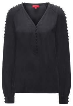 HUGO Boss Buttoned Silk Blouse Emitis 0 Black