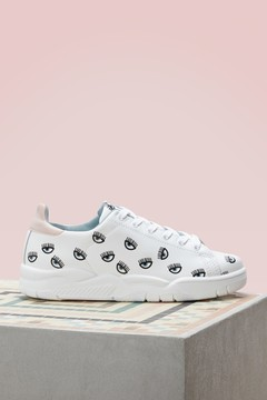 Chiara Ferragni Leather eyes all over sneakers
