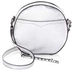 Rebecca Minkoff Boston Metallic Leather Circle Bag - SILVER - STYLE
