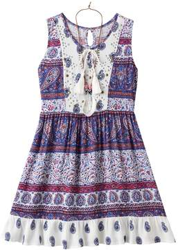 Knitworks Girls 7-16 Lace & Paisley Babydoll Dress