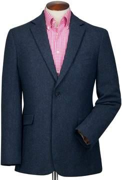 Charles Tyrwhitt Slim Fit Blue Herringbone Wool Wool Jacket Size 38