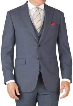 Charles Tyrwhitt Light Blue Slim Fit Sharkskin Travel Suit Wool Jacket Size 36