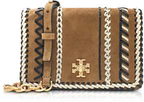 Tory Burch Kira Whipstitch Hazel Suede Mini Crossbody Bag - BROWN - STYLE