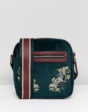 Asos Flight Bag In Velvet With Embroidery