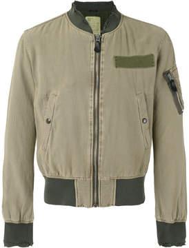 R 13 frayed cuffs bomber jacket