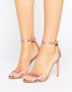 Public Desire Avril Pink Satin Barely There Heeled Sandals