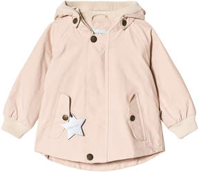 Mini A Ture Pale Pink High Neck Rib Detail Hooded Jacket