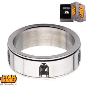 Star Wars Disney Men's Stainless Steel R2D2 Spinner Ring, Sizes 8-12