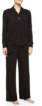 Fleurt Fleur't Lounge with Me Silk-Trimmed Long Wrap, Black