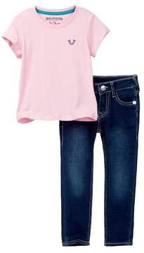 True Religion Buddha Pink Pants Set (Toddler Girls)