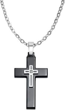 Triton Axl By AXL by Diamond Accent Stainless Steel & Black Ion-Plated Stainless Steel Cross Pendant Necklace - Men