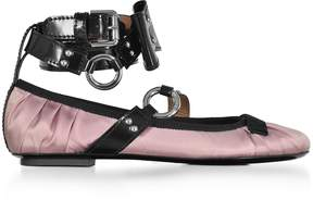 Moschino Pink Satin Ballerina w/Patent Leather Ankle Wrap