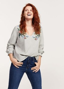 Violeta BY MANGO Floral embroidery checked blouse