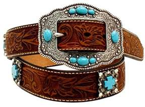 Ariat A1521644-XL 1.5 in. Womens Floral Embellished Cross Concho Belt, Brown - Extra Large