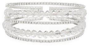 Cezanne Rhinestone Beaded Multi-Row Cuff Bracelet