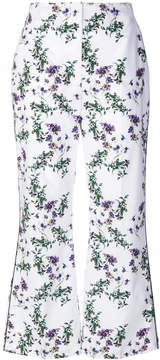 Blumarine floral cropped flared trousers