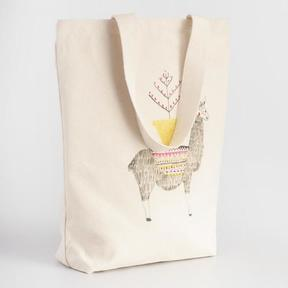 World Market Jolly Llama Canvas Tote Bag