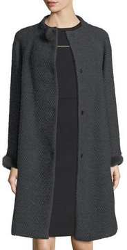 Escada Collarless Mink-Trim Tweed Coat