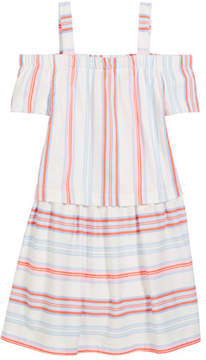 Joules Off-the-Shoulder Multi-Stripe Cotton Dress, Size 3-10