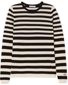 Bella Freud Skinny Minnie Striped Wool And Cashmere-blend Sweater - Black