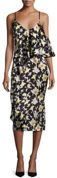 Cinq à Sept Zuri Floral Cold-Shoulder Slip Dress, Green/Black
