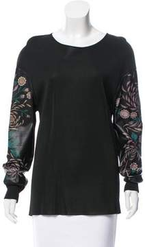 Barbara Bui Leather-Accented Knit Top