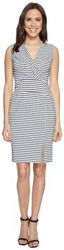 Adrianna Papell Gingham Check Sleeveless CF Fold Detail Fitted Dress Women's Dress