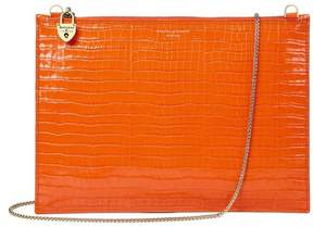 Aspinal of London Soho Clutch In Deep Shine Amber Small Croc