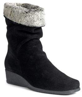 La Canadienne Fancy Faux Fur Trimmed Suede Wedge Boots