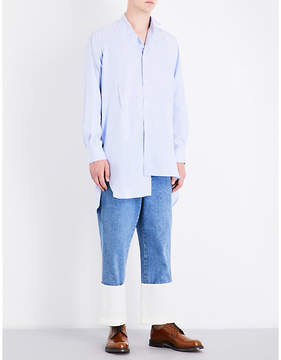 Loewe Asymmetric-hem striped relaxed-fit cotton shirt
