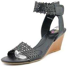XOXO Sadler Women Open Toe Synthetic Black Wedge Heel.