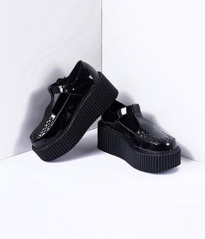 Unique Vintage Black Patent Leather Platform T-Strap Creeper Shoes