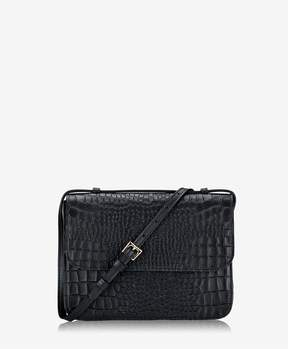 GiGi New York Abbot Crossbody In Black Embossed Nappa Croco Leather