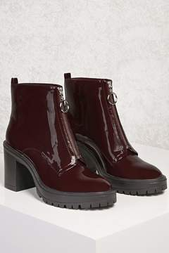 Forever 21 Faux Patent Ring Pull Boots