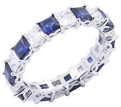 Diamonique & Simulated Sapphire Band Ring, Plat