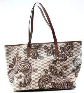 Michael Kors Brown Coated Canvas Paisley Emry Zip Tote Bag Purse - BROWNS - STYLE