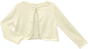 Sorbet Cotton Sweater with Pearly Trim, Champagne, 7-16M