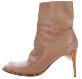 CNC Costume National Leather Square-Toe Ankle Boots