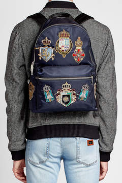 Dolce & Gabbana Fabric Backpack with Crest Patches - BLUE - STYLE