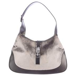 Gucci 100% Authentic Grey Velvet And Black Leather Jackie-O Hobo Shoulder Bag - GREY - STYLE