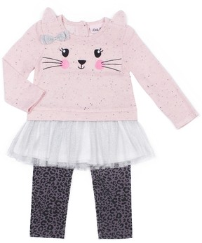 Little Lass Baby Girl Kitty Cat Skirted French Terry Sweater & Leopard Leggings Set